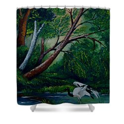 Bird In The Swamp Shower Curtain