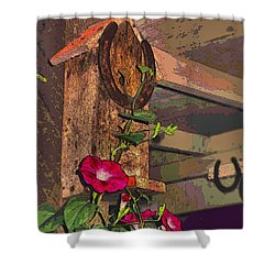 Birdhouse Morning Glories Two Shower Curtain by Joyce Dickens