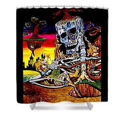 Shower Curtain featuring the mixed media Birth And Death by eVol  i