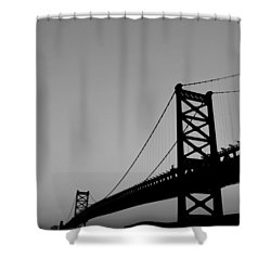 Black And White Bridge Shower Curtain by Bill Cannon