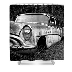 Black And White Buick Shower Curtain by Steve McKinzie