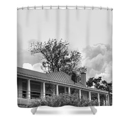 Shower Curtain featuring the photograph Black And White Delaware Casino by Michael Frank Jr