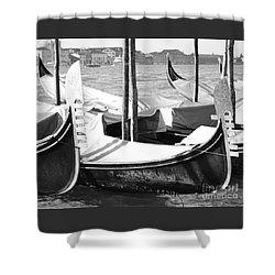 Black And White Gondolas Venice Italy Shower Curtain by Rebecca Margraf