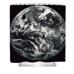 Black And White Image Of Earth Shower Curtain by Stocktrek Images