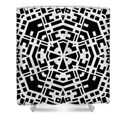 Black And White Kaleidoscope Shower Curtain by David G Paul