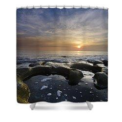Black Sea Shower Curtain by Debra and Dave Vanderlaan