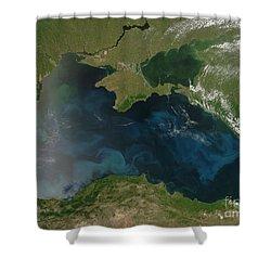 Black Sea Phytoplankton Shower Curtain by Nasa