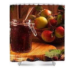 Blackberry And Apple Jam Shower Curtain by Amanda Elwell