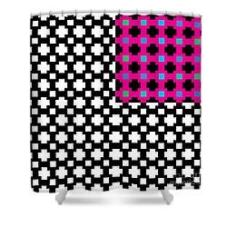 optical illuson Pink Black flag 2 Shower Curtain