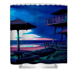 Blacklight Tower Shower Curtain by DigiArt Diaries by Vicky B Fuller