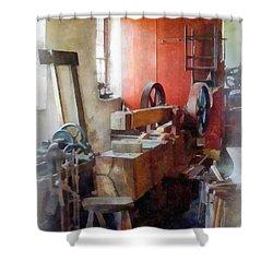 Blacksmith Shop Near Windows Shower Curtain by Susan Savad