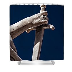 Blade In Hand Shower Curtain by Christopher Holmes