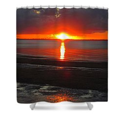 Blazing Sunset Shower Curtain by Ramona Johnston
