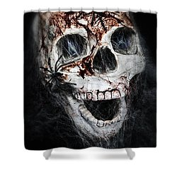 Bloody Skull Shower Curtain by Joana Kruse