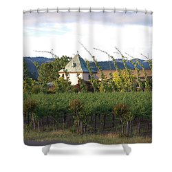 Blowing Grape Vines Shower Curtain by Holly Blunkall