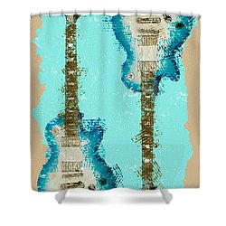 Blue Abstract Guitars Shower Curtain by David G Paul