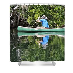 Blue Amongst The Greens - Canoeing On The St. Marks Shower Curtain by Marilyn Holkham