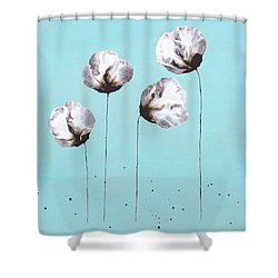 Blue And Brown Flower Painting Felicity Shower Curtain by Catherine Jeltes