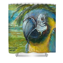 Shower Curtain featuring the painting Blue And Gold Macaw By The Sea by Bernadette Krupa