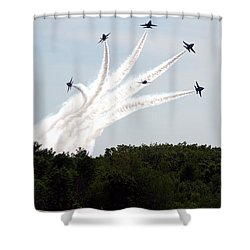 Blue Angels Star Burst Shower Curtain by Kevin Fortier