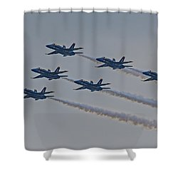 Blue Angels Shower Curtain by Susan Candelario