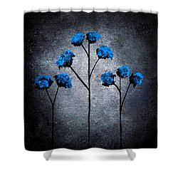 Shower Curtain featuring the painting Blue Beauties by Oddball Art Co by Lizzy Love
