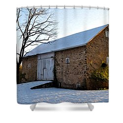 Blue Bell Barn Shower Curtain by Bill Cannon