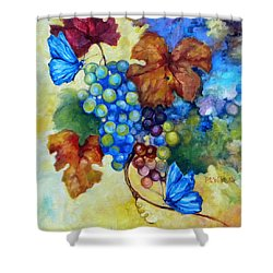 Blue Butterflies And Grapevine  Shower Curtain by Peggy Wilson
