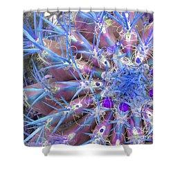 Blue Cactus Shower Curtain by Rebecca Margraf