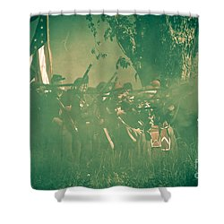 Blue Coats Fire Shower Curtain by Kim Henderson