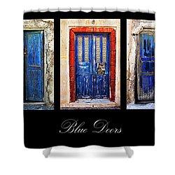 Blue Doors Of Santorini Shower Curtain by Meirion Matthias
