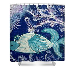 Blue Fish Called Flow Shower Curtain