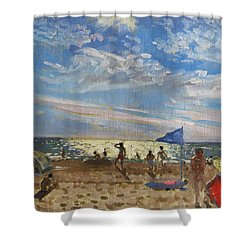 Blue Flag And Red Sun Shade Shower Curtain by Andrew Macara