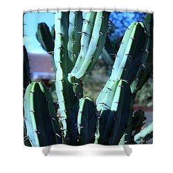 Blue Flame Cactus Shower Curtain by M Diane Bonaparte
