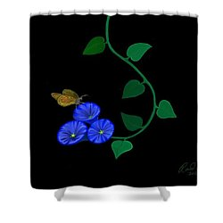 Blue Flower Butterfly Shower Curtain