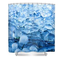 Blue Frozen Water Drops  Shower Curtain