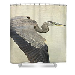 Blue Heron On Canvas Shower Curtain by Deborah Benoit
