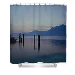 Blue Hour At Dawn On Lago Maggiore Shower Curtain by Heiko Koehrer-Wagner