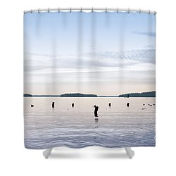 Shower Curtain featuring the photograph Blue Lake Muskoka by Les Palenik