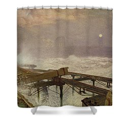 Blue Lights - Teignemouth Pier Shower Curtain by Alfred William Hunt