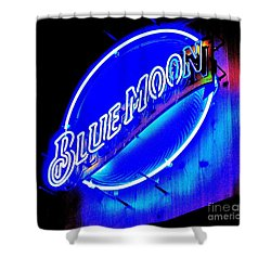 Shower Curtain featuring the photograph Blue Moo Neon Blue Horseshoe by John King