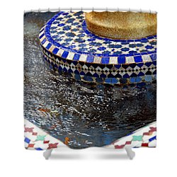 Blue Mosaic Fountain II Shower Curtain
