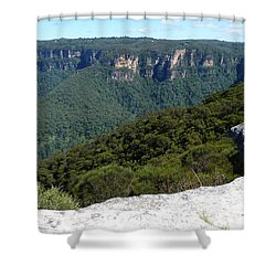 Blue Mountains Shower Curtain by Carla Parris