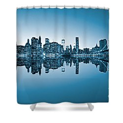 Shower Curtain featuring the photograph Blue New York City by Luciano Mortula
