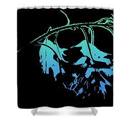 Blue On Black Shower Curtain