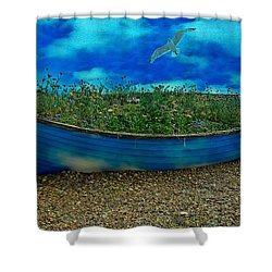 Shower Curtain featuring the photograph Blue Sky Boat  by Chris Lord
