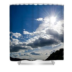 Blue Sky With Clouds Shower Curtain by Mats Silvan