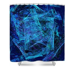 Blue Space Debris Shower Curtain by Andee Design
