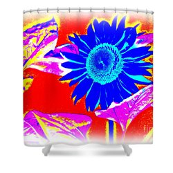 Blue Sunflower Shower Curtain by Pauli Hyvonen