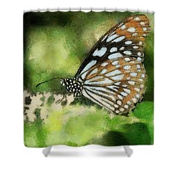 Blue Tiger Shower Curtain by Lois Bryan